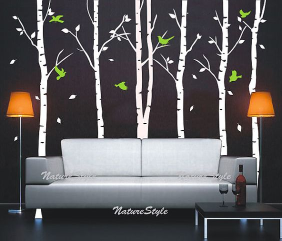 Birch trees with flying birds vinyl wall decal