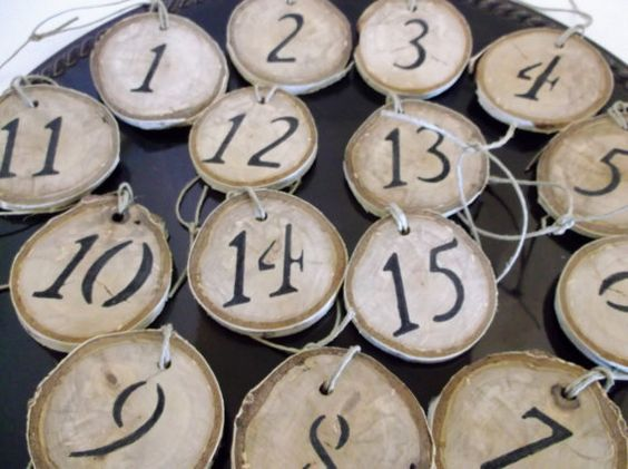 Birch Wood Table Numbers Wedding by DivineRusticCreation on Etsy, $25.00