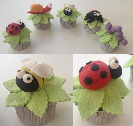Cute Garden Critters bee ladybird spider caterpillar snail cupcakes: