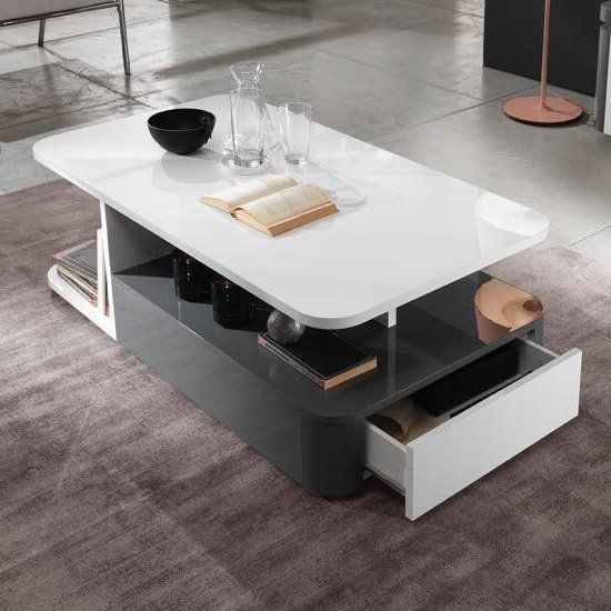 Clarus Coffee Table Rectangular In White And Grey Gloss Lacquer Coffe Table Cool Coffee Tables Table