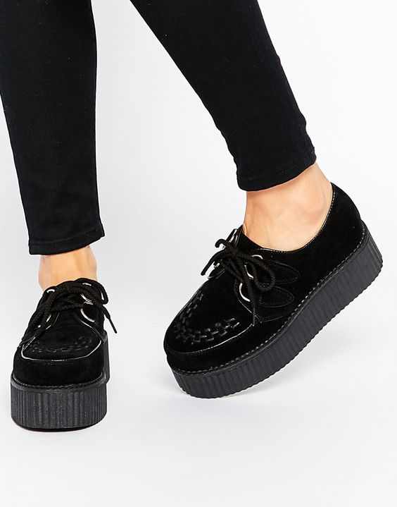 Image 1 of Truffle Collection Lace Up Flatform Creeper Shoes