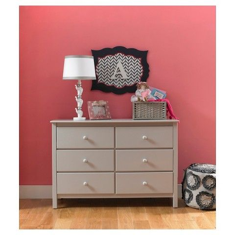 Fisher Price Riley 6-Drawer Double Dresser - Misty Grey