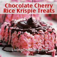 This Chocolate Covered Cherry Rice Krispie Treats recipe has the flavor of chocolate covered cherries. They are as easy to make as rice krispie treats in just about 10 minutes. Click here to get this yummy #recipe http://www.livingonadime.com/chocolate-covered-cherry-rice-krispie-treats-recipe/