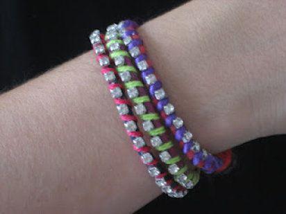 Pulseras de la amistad flúor y strass / DIY neon rhinestone friendship bracelets