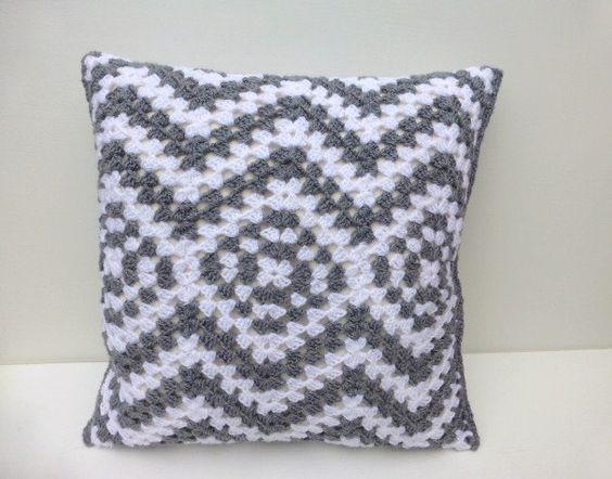 Crochet cushion cover grey zigzag. £30.00, via Etsy.: