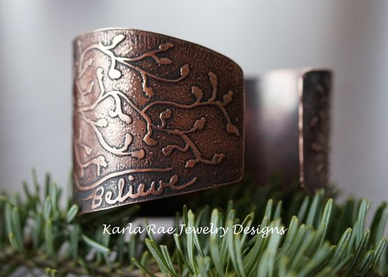 Etched copper cuff  Karla Rae Jewelry Designs. I own this and love it!