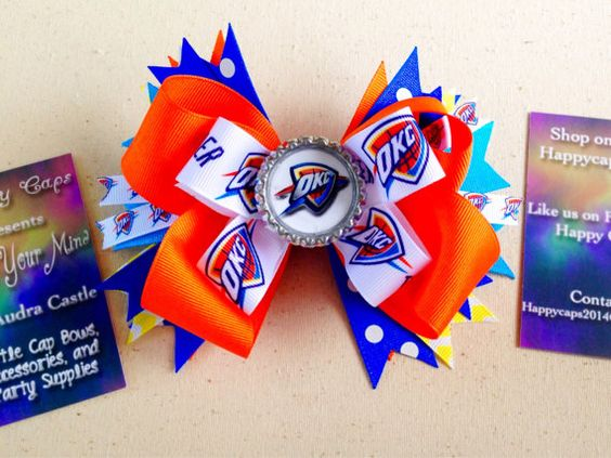 OKC Thunder Inspired Bow by HappyCaps2014 on Etsy