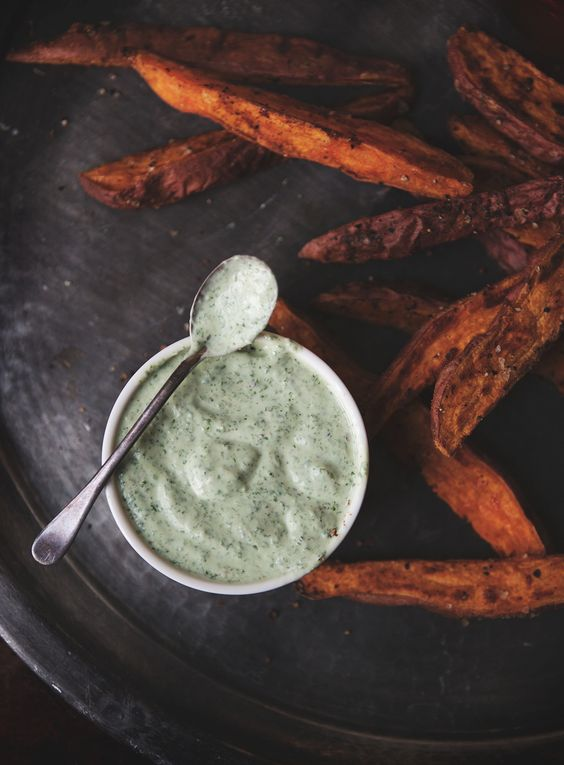 Sweet Potato Fries with Cilantro Lime Dipping Sauce — a Better Happier St. Sebastian