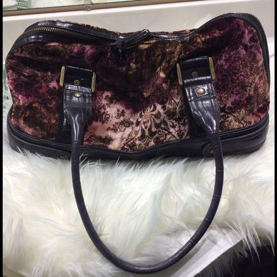 Liz Claiborne vintage-look satchel Dark brown and maroon paisley patter with calf-hair texture. 2-zip top, very roomy, very light wear. Liz Claiborne Bags Satchels