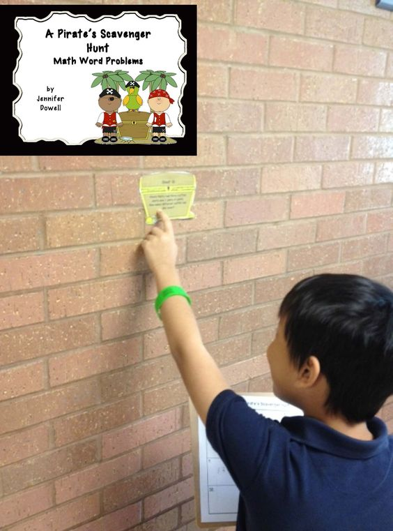 Math Word Problems Scavenger Hunt. Pirate scavenger hunt using treasure chests with math word problems.