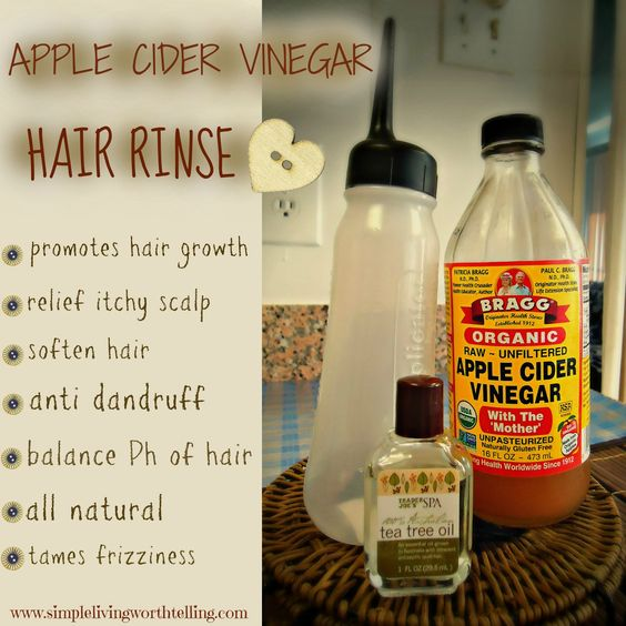 Apple Cider Vinegar Hair Rinse-   Read about benefits - Recipe  1/2 cup Apple Cider Vinegar 1/2 cup Water 2 drops Tea Tree Essential Oil. Been using AppleCider Vinegar since 8 months,saw significant difference in hair quality, Love it!