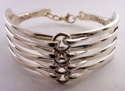 double fork bracelet is made from two parts of the fork and is joined together with jump rings and/or split rings