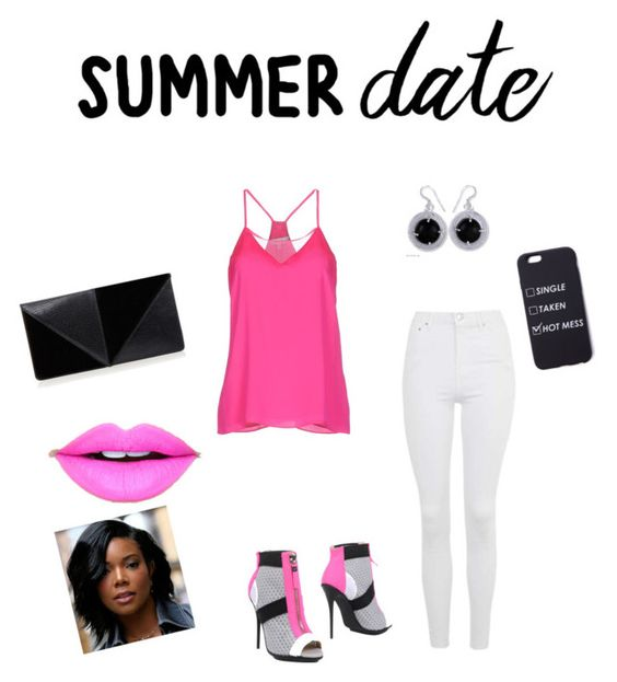"""""""date"""" by marissamg ❤ liked on Polyvore featuring Topshop, gx by Gwen Stefani, Milly, NOVICA, UN United Nude, Fiebiger, summerdate and rooftopbar"""