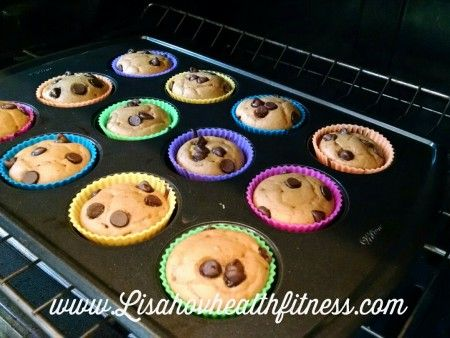 Pumpkin Chocolate chip protein muffin***21 Day FIX containers (for 2 muffins): 1/2 Red, 1 Yellow, 1/3 Purple, 1 tsp ***