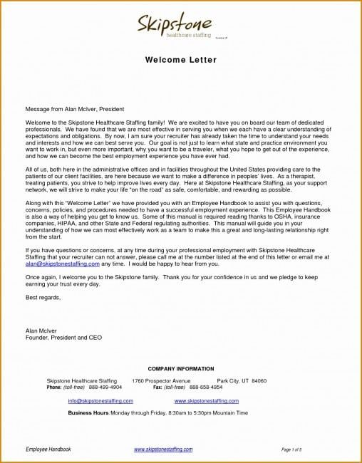 4 Example Of A Welcome Letter Welcome Letters Letter Templates