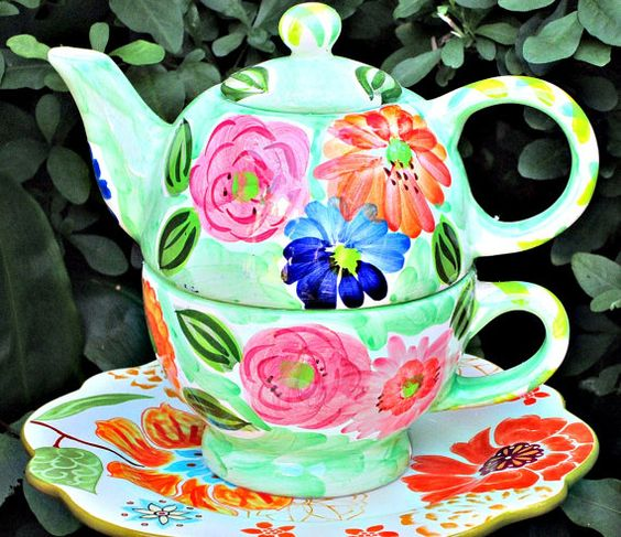 Green Floral Teapot Garden Totem Stake - As Featured in Flea Market Gardens Magazine