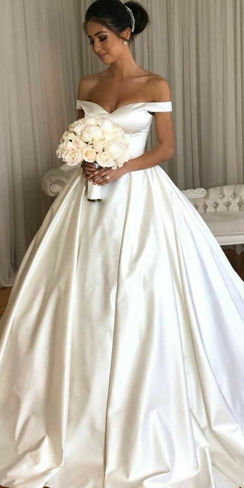 Simple White Off Shoulder Wedding Dress Beauty Bridal Ball Gown Cheap Evening Dress 509 Ball Gown Wedding Dress Bridal Ball Gown Trendy Wedding Dresses