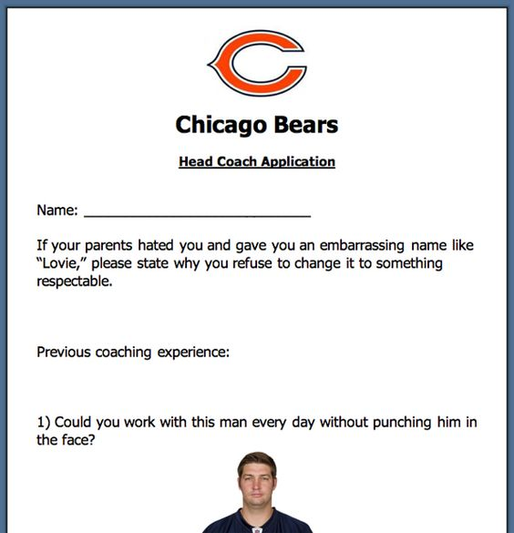 Application for the Chicago Bears Head Coach Position – Image 1