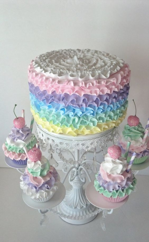 Ruffle Fake Cake Photo Prop with Pastel by FakeCupcakeCreations