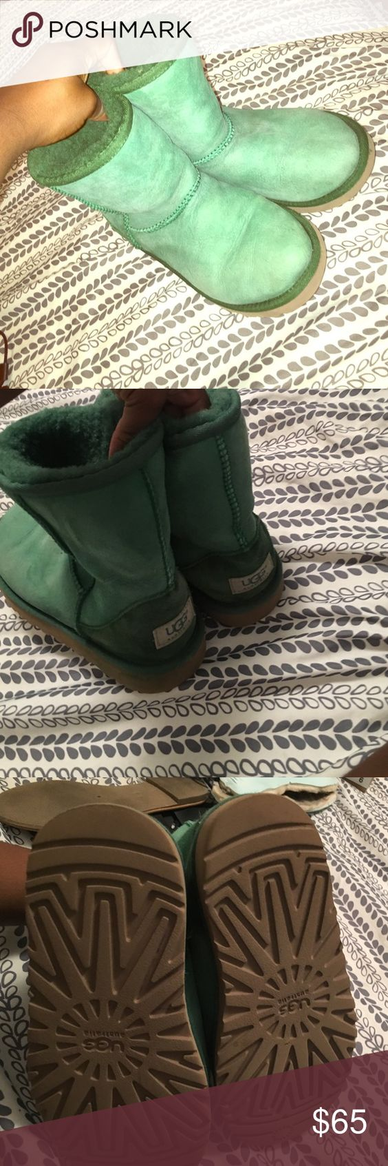 Pine Classic UGG Most comfortable uggs ever . The color is very vibrant and cute . Worn a few times, I've cleaned them which left a few staining, not to noticeable . Crease not noticeable if you wear either UGG Shoes Ankle Boots & Booties