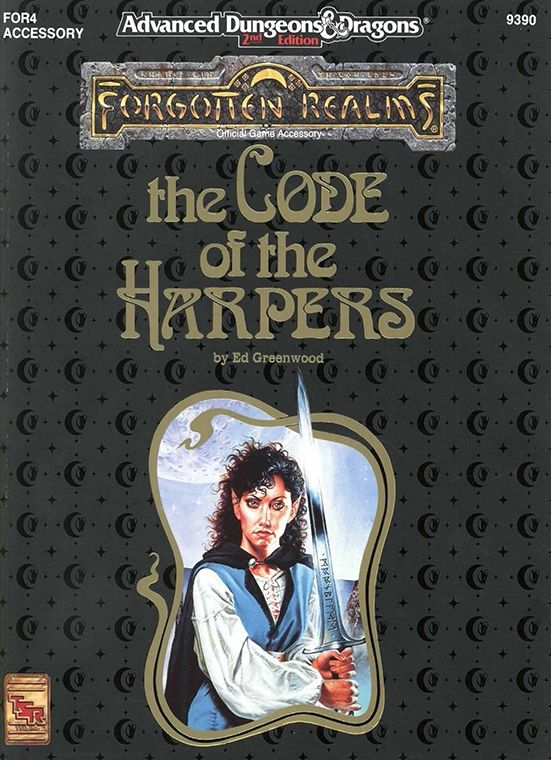 FOR4 The Code of the Harpers (2e) | Book cover and interior art for Advanced Dungeons and Dragons 2.0 - Advanced Dungeons & Dragons, D&D, DND, AD&D, ADND, 2nd Edition, 2nd Ed., 2.0, 2E, OSRIC, OSR, d20, fantasy, Roleplaying Game, Role Playing Game, RPG, Wizards of the Coast, WotC, TSR Inc. | Create your own roleplaying game books w/ RPG Bard: www.rpgbard.com | Not Trusty Sword art: click artwork for source: