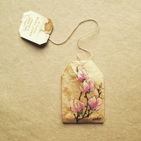 363 days of tea. Day 114. #recycled #teabag #magnolias #art #artmyfeed #artwithoutwaste: