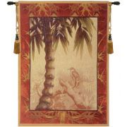 Le Palmier with bird French Wall Art Tapestry is woven in France and is available in two sizes. http://www.homedecortapestries.com/le-palmier-with-bird-french-wall-art-tapestry