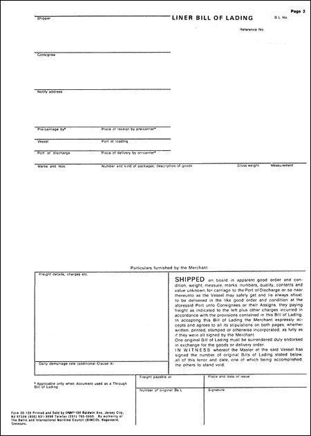Printable Sample Blank Bill Of Lading Form – Sample Bill of Lading