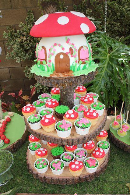 Adorable cake and cupcakes at a Fairy Garden Party #fairygarden #partycake