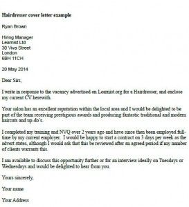 Apprenticeship example cover letter