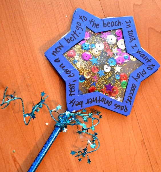New Year's Wishing Wand (Child comes up with resolutions to put to write on the outside of the star!)