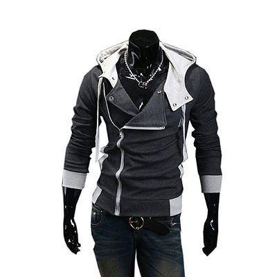 Cool Homens Fashion Casual Com capuz de zíper oblíqua Top Coat Jaqueta Slim Venda Quente
