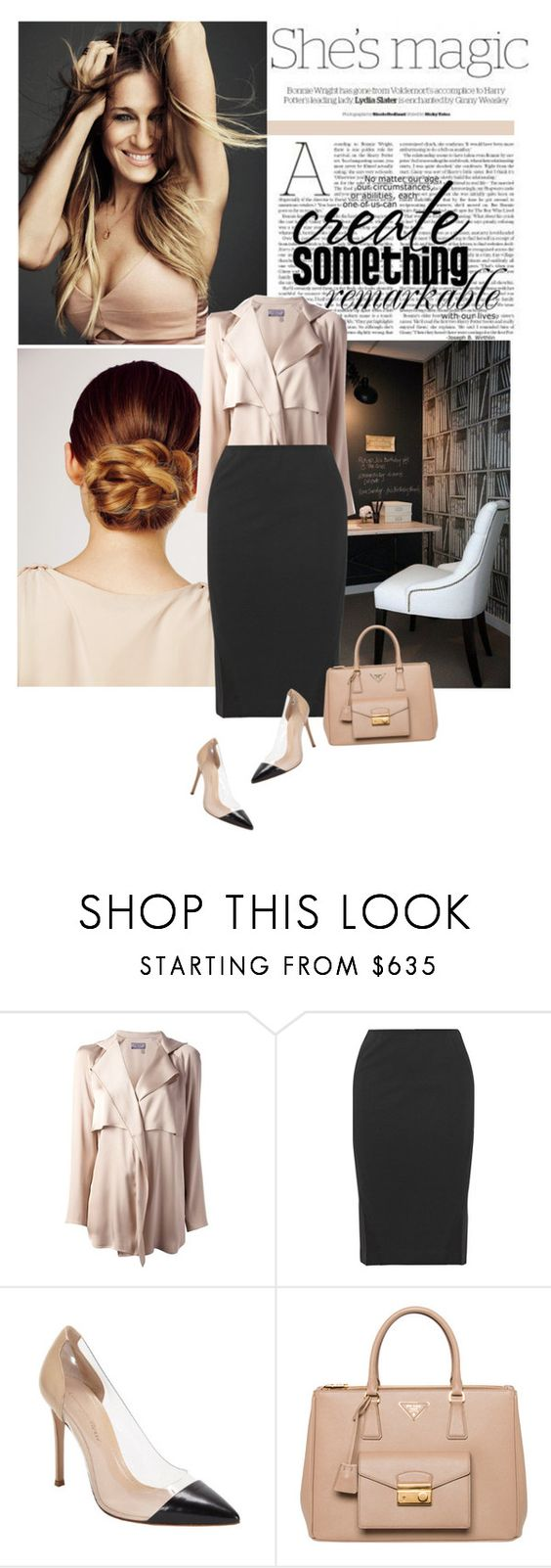 Office Hours by ldtrollinger on Polyvore featuring ファッション, Lanvin, Donna Karan, Gianvito Rossi, Prada, Sarah Jessica Parker, Nicole and Kerastase