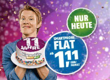 Klarmobil: Smartphone-Flat 300 im D-Netz für 1,11 Euro im Monat https://www.discountfan.de/artikel/tablets_und_handys/klarmobil-smartphone-flat-300-im-d-netz-fuer-1-11-euro-im-monat.php Via Klarmobil ist nur am heutigen Dienstag eine Internet-Flat im D-Netz mit 300 MByte für 1,11 Euro pro Monat zu haben. Inklusive sind außerdem 100 Gesprächsminuten in deutsche Netze, SMS schlagen mit fairen neun Cent zu Buche. Klarmobil: Smartphone-Flat 300 im D-Netz für 1,11 Euro im M