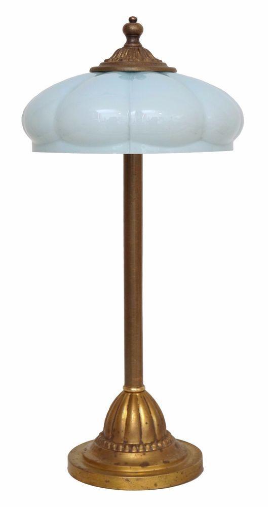 Wunderschone Original Berliner Jugendstil Messinglampe Um 1930 Tischlampe Opal Jugendstil Tischlampen Lampentisch