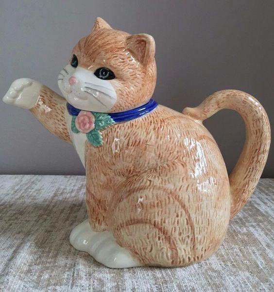 Treasure Craft USA Cat Teapot Tea Pot Brown Beige Tan Blue  #TreasureCraft