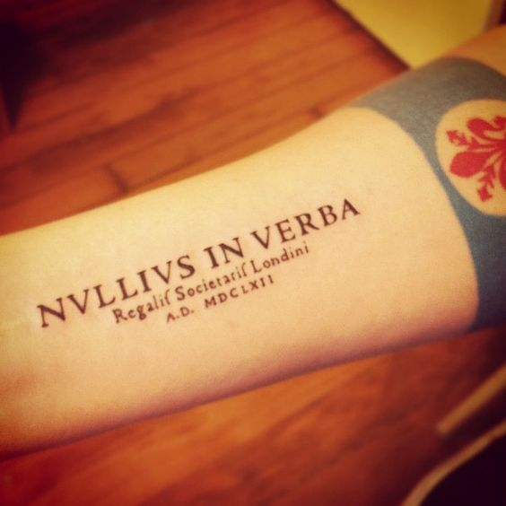 Image result for nullius in verba tattoo