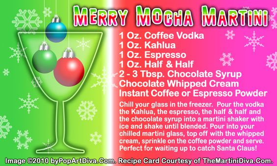 MERRY MOCHA CHRISTMAS MARTINI recipe on a Free Recipe Card - Click the image for the Full Sized, Print Quality Recipe Card!