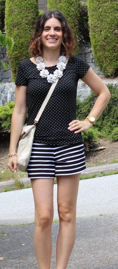 Pattern mixing: polka dots and stripes