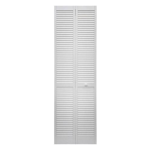 Shop Reliabilt White Louver Wood Pine Bifold Door Hardware Included Common 30 In X 80 In Actual 29 63 In X 78 7 Bifold Door Hardware Bifold Doors Reliabilt