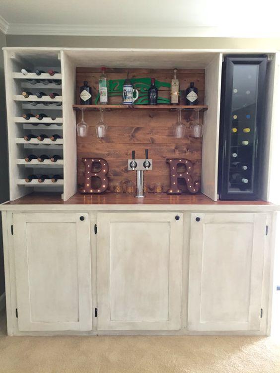 Custom wet bar with kegerator and wine cooler wet bar for Custom wine bar