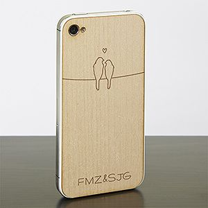 """This is such a cute engagement or wedding gift idea! It's a Wood cell phone case that you can have engraved with the couple's initials! This """"love bird"""" design is too cute ... what a cool gift idea!: Wedding Gift"""