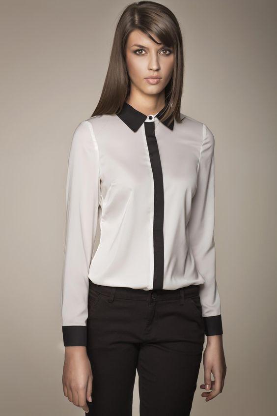 Mode chemises and chic on pinterest for Chemisier blanc femme chic
