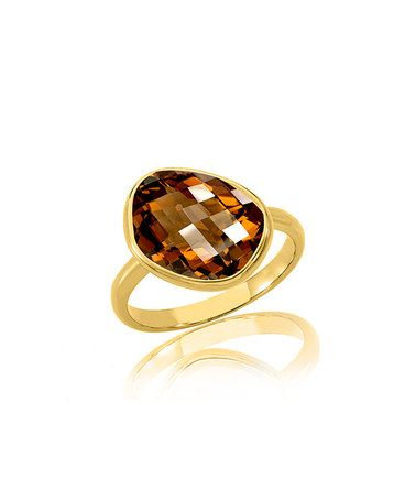Love this Smoky Topaz & 18k Gold Tilt Ring on #zulily! #zulilyfinds