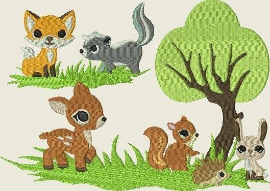 Stickmuster - Stickdatei Tiere im Wald * Fuchs,Hase,Waschbär - ein Designerstück von Kerstins-Naehstuebchen bei DaWanda