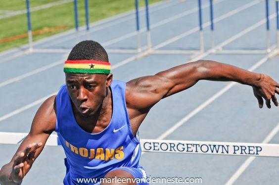 Gaithersburg High School hurdler at the Woodward Relays at Georgetown Prep.