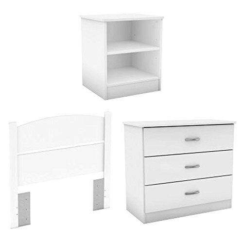 Headboard Dresser Nightstand Combo White Finish Bedroom In A Box 3 Pack With Headboard 3 Drawer Dresser And Dresser As Nightstand Nightstand 3 Drawer Dresser