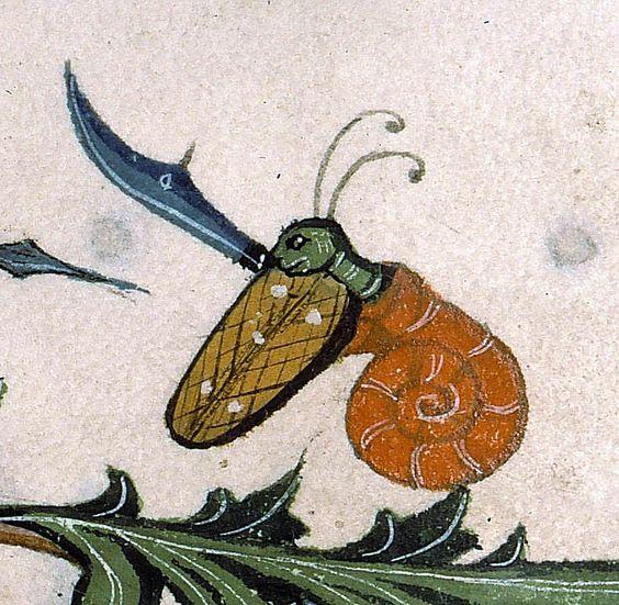 warrior snailPontifical of Guillaume Durand, Avignon, before 1390Paris, Bibliothèque Sainte-Geneviève, ms. 143, fol. 179v: