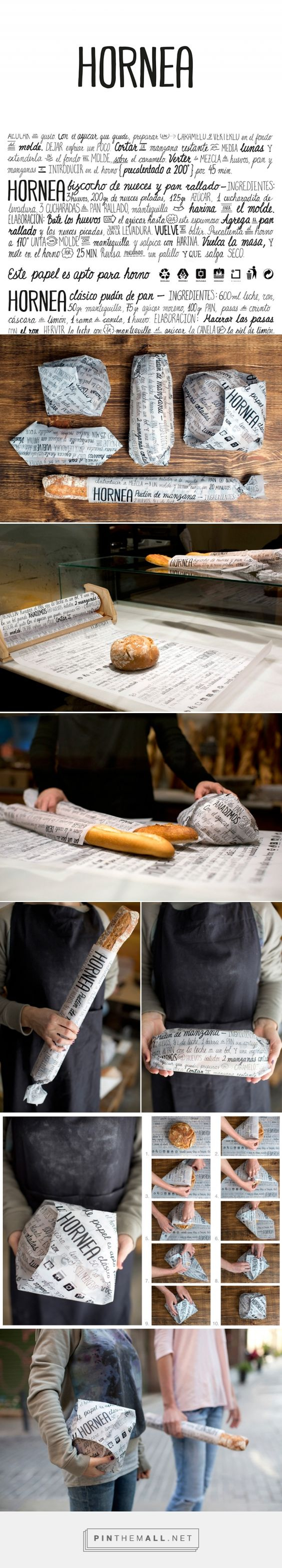 HORNEA - Bakery Packaging on Behance curated by Packaging Diva PD. A wrapping system for bread and pastries adaptable to any size consisting of a parchment-paper roll with recipes printed on it, using only one ecological and recyclable black ink. It's a multifunctional packaging system.