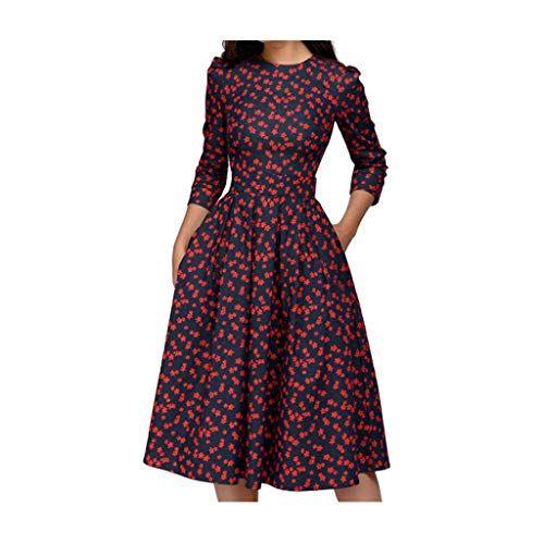Sunnymi Frauen Kleid Blumen Vintage Kleid Elegantes Midi Abendkleid Mit 3 4 Armeln Kleider Damen Sommerkleidung Damen Modestil